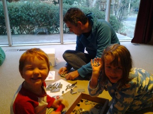 Tom building a Lego plane for the kids
